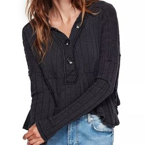 Free People In The Mix Knit Top Shirt Black L NWT